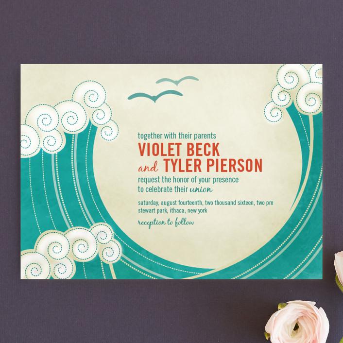 Fun beach wedding invitation