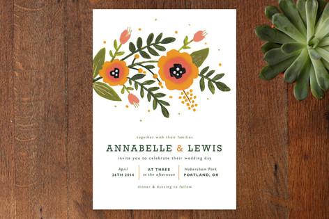Peach Blooms Wedding Invitations