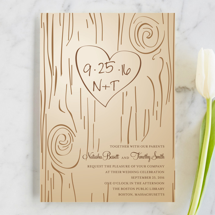initials carved in wood wedding invitations