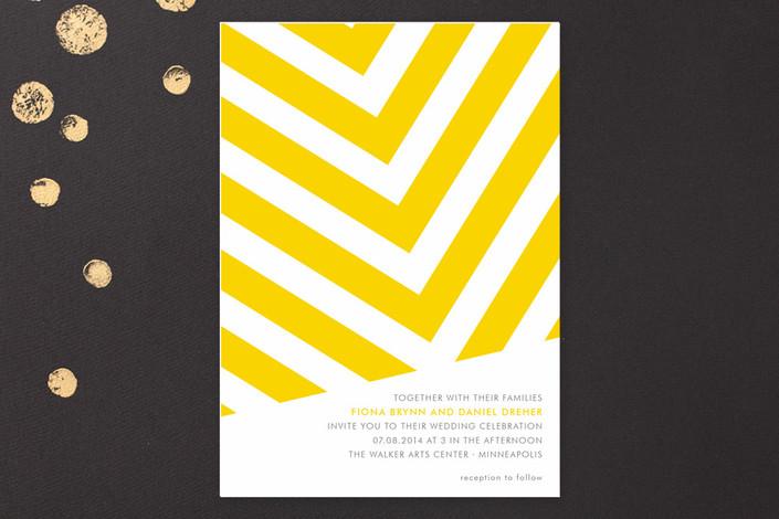 Yellow Chevron Wedding Invitation