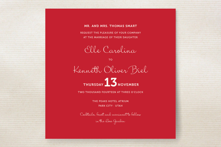 bright red wedding invitation