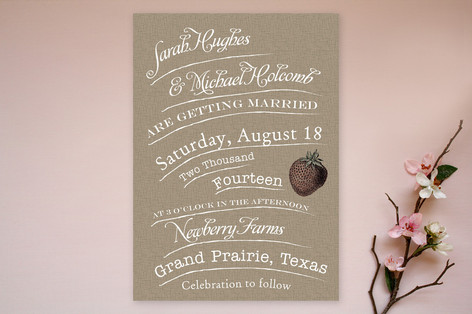 Rustic strawberry farm Wedding Invitation