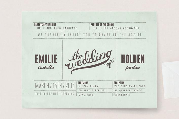 Fun ticket wedding invitation