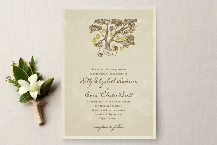 tree with banner wedding invitations