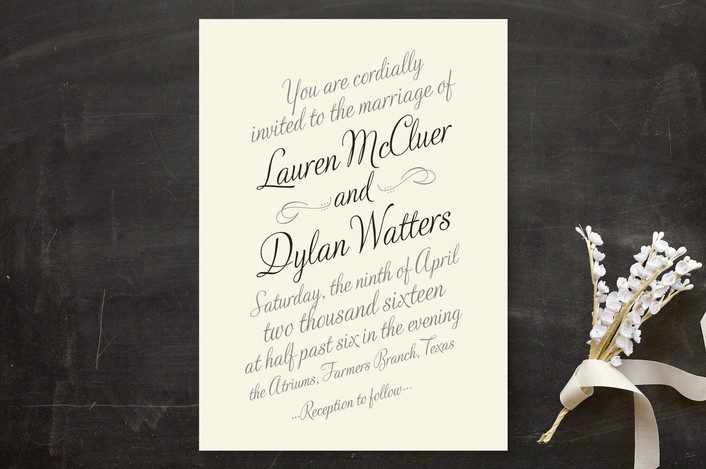 hand written font wedding invitation