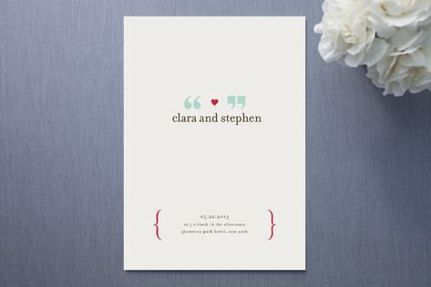Quotemarks in Love Wedding Invitations