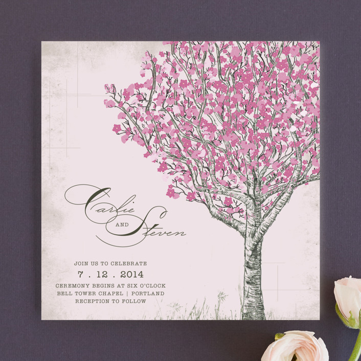 indie wedding guide's top 10 cherry blossom wedding invitations, Wedding invitations