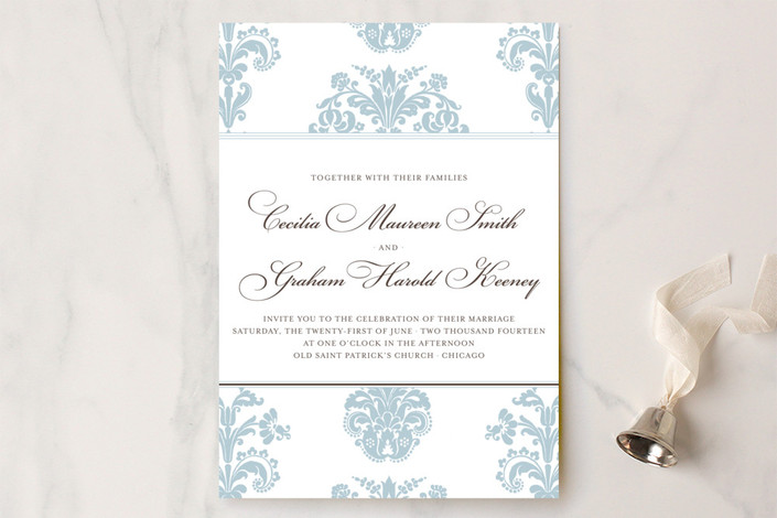 light blue and white banner damask wedding invite