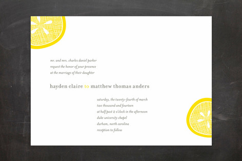 View more lemon citrus themed wedding invitations here