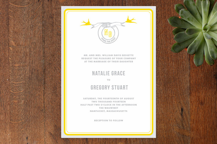 Yellow and Grey Wedding Invite