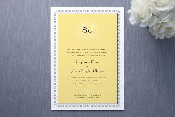Yellow Monogram Wedding Invitation