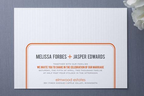 orange modern Wedding Invitations