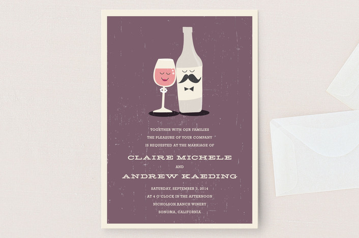 Cute Wine Wedding Invitations