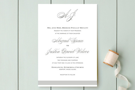 Script Monogram Wedding Invitations