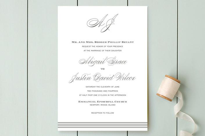 Script Monogram Wedding Invitations