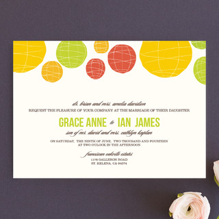 as low as 215 card Summer Lanterns Wedding Invitations