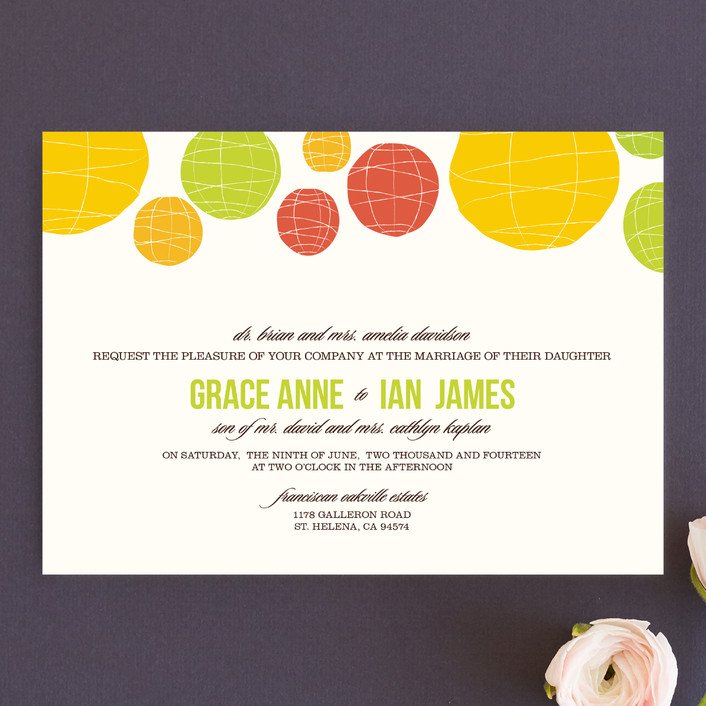 paper lantern outdoor summer wedding invitation