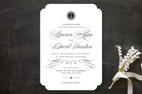 regal black and white wedding invitation