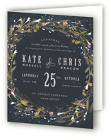Floral Crown Four-Panel Wedding Invitations