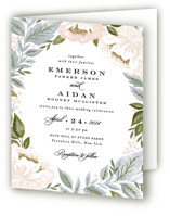 Peony Floral Frame Four-Panel Wedding Invitations