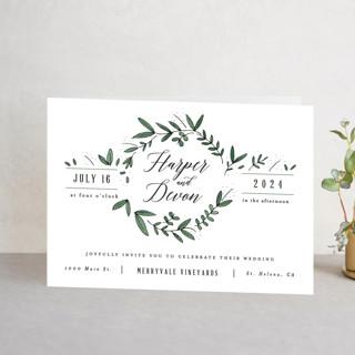 Floral Wreath Four-Panel Wedding Invitations