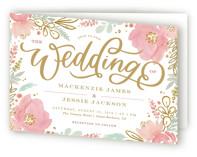 Floral Vignette Four-Panel Wedding Invitations