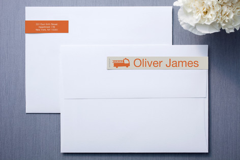 Beige and Orange Skinnywrap™ Address Labels