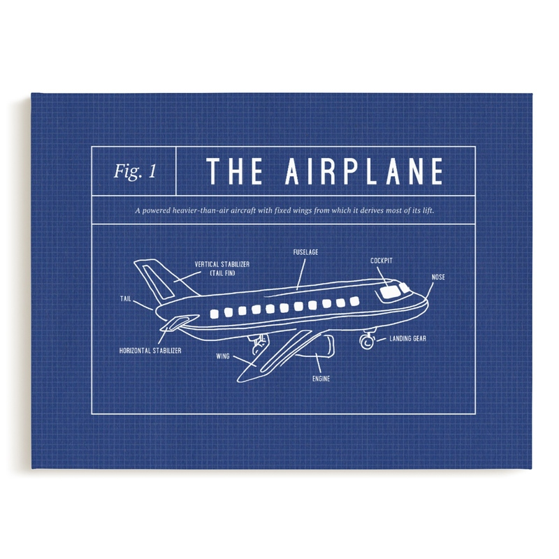 Airplane Blueprint Children's Art Print