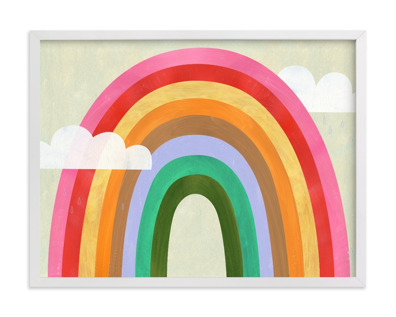 Rainbow & Clouds Children's Art Print