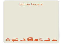 Orange Cars Children's Personalized Stationery