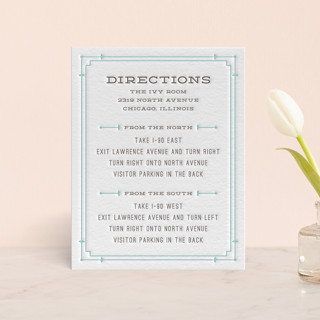 Framed Type Letterpress Directions Cards