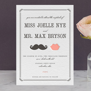 Stache Kiss Letterpress Wedding Invitations