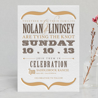 Bold Brackets Letterpress Wedding Invitations
