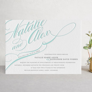 Winter Flourish Letterpress Wedding Invitations