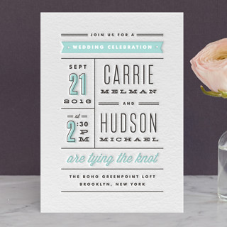 Posted Letterpress Wedding Invitations