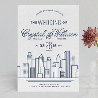 Cityscape Letterpress Wedding Invitations