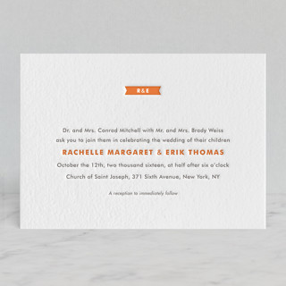 Modern Ribbon Letterpress Wedding Invitations