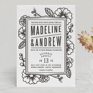 Modern Botanicals Letterpress Wedding Invitations
