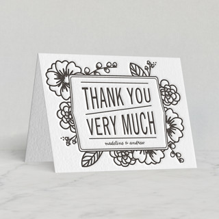 Modern Botanicals Letterpress Thank You Cards