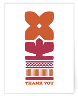 Nordic Orange Flower Thank You Card Non-Custom A2 Cards
