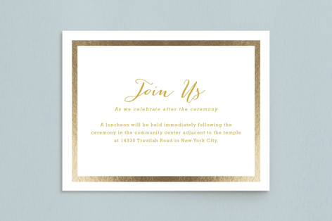 Modern Photo Frame Foil-Pressed Mitzvah Reception Cards