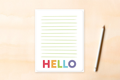 Simple Lined Hello Children's Flat Stationery