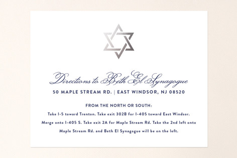 Silver Mitzvah Foil-Pressed Mitzvah Directions Cards