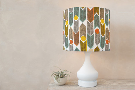 Warm Plains Pattern Self Launch Drum Lampshades
