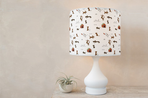 Doggy antics Self Launch Drum Lampshades