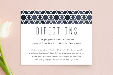 Starred Frame Mitzvah Direction Cards