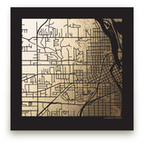 Custom Map Filled Foil Art on Dark Paper Custom Map Printing