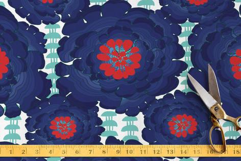 Seafarer Floral Aqua Marine Fabric