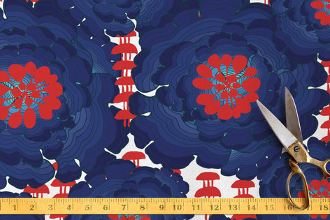 Seafarer Floral Red Fabric