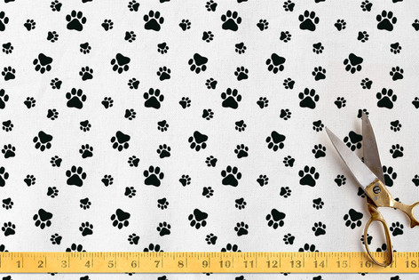 Black Paw Prints Fabric